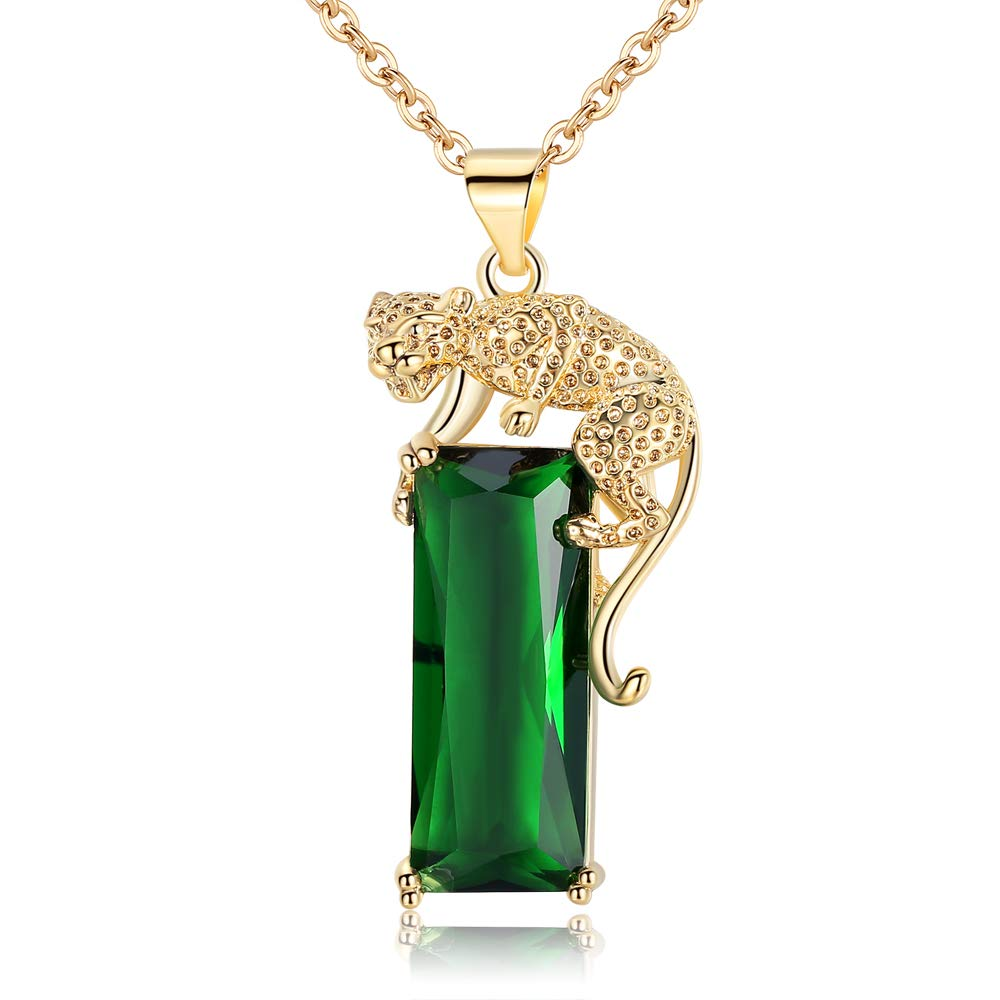 Hip Hop Jewelry for Men Women Leopard Head Teardrop Pendant Necklace Gold Plated Crystal Leopard Set with Diamond Green Crystal Pendant Iced Out Cuban Chains