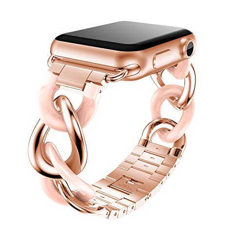 ANCOOL Compatible for Apple Watch Bands 38mm 42mm Women Men,Fashion Stainless Steel Metal Bracket Acetate Link Bracelet Strap Replacement Wristband for Apple Watch Series 4 3 2 1-(Pink) ()