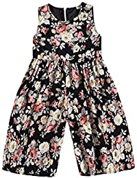 a031f675ea50 Toddler Baby Girl Floral Jumpsuit Sleeveless Flower Printed Wide Leg Pants  Rompers Outfits Clothes