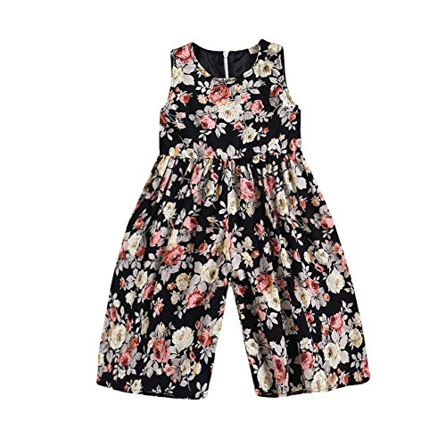 Toddler Baby Girl Floral Romper Jumpsuit Summer Sleeveless Flower Print Wide Leg Pants Bodysuit Outfits Clothes 4-5T Black]()