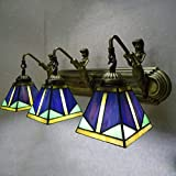 XNCH Tiffany Style Wall lamp Mediterranean Glass Wall Lighting Creative Wrought Iron Bedroom Bedside lamp Hotel Balcony Bathroom lamp