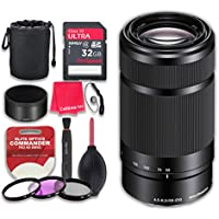 Sony E 55-210mm f/4.5-6.3 OSS E-Mount Lens (Black) with 32GB Ultra Pro Speed Class 10 SDHC Memory Card + 3pc Filter Kit (UV-FLD-CPL) + Deluxe Sleeve + Microfiber Cleaning Cloth - International Version