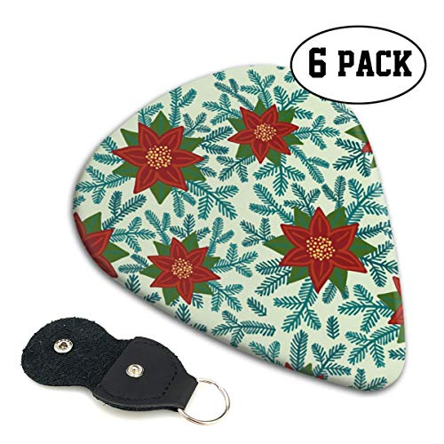 Poinsettias Small Medium Large 0.46 0.71 0.96mm Mini Flex Assortment Celluloid Top Classic 351 Rock Electric Acoustic Guitar Pick Accessories Variety Pack Collectors