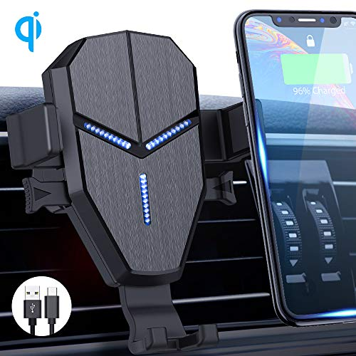 Wireless Car Charger Mount, Quntis Auto Clamping Wireless Air Vent Cell Phone Holder with 10W 7.5W 5W Qi Fast Charging Car Mount Compatible iPhone 11 pro,11 pro max X XS XR 8 Galaxy S10 S9 S8 Note 10