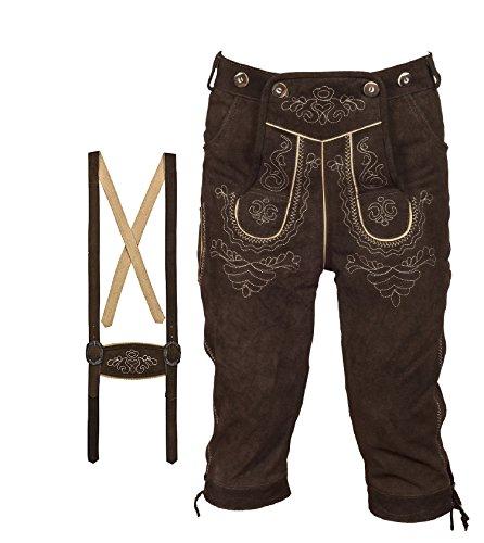 Herren Trachten Lederhose Kniebundhose mit Trägern dunkelbraun (48)