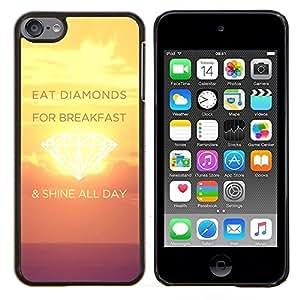 TECHCASE---Cubierta de la caja de protección para la piel dura ** Apple iPod Touch 6 6th Touch6 ** --Shine Día Diamantes Sunset Inspiring Amarillo