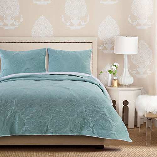 Barefoot Bungalow Cameo Quilt Set, 3-Piece, Full/Queen, Aqua Haze
