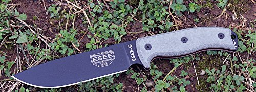 ESEE 6P-B Plain Edge Fixed Blade Survival Knife with Grey Micarta Handle