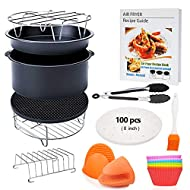 FDA 8 inch XL Air Fryer Accessories 11 pcs with Recipe Cookbook Compatible for Gowise USA COSORI Airfryer XL 5.3QT – 5.8QT, Deluxe Deep Fryer Accessories Set of 12