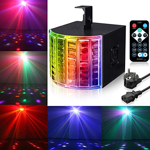 DJ Lights, SOLMORE18W DMX512 RGB LED Party Lights Sound Actived Disco Lights for Stage Lighting Wedding Birthday Karaoke Show Color Changing AC110-240V (with Remote) ()
