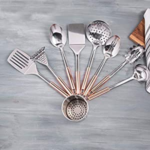 9-Piece Copper Plated Stainless Steel Kitchen Utensil Set with Drain Holder | Copper Plated Kitchen Utensils with Spatula | Kitchen & Serving Accessories | Stainless Steel Cooking Utensils Set