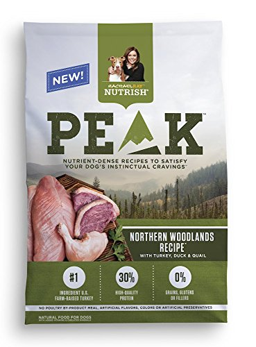 Rachael Ray Nutrish PEAK Natural Grain Free Dry Dog Food, Northern Woodlands Recipe with Turkey, Duck & Quail, 12 lbs