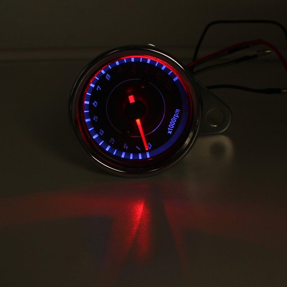 Silber PIXNOR Motorrad Tacho Tachometer Drehzahlmesser mit blauer LED-Hintergrundbeleuchtung