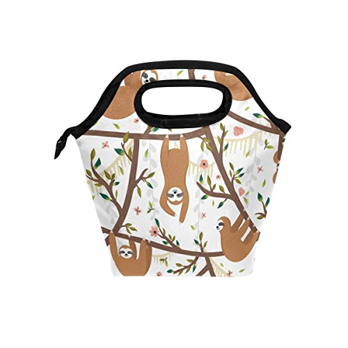 Naanle Funny Sloth on Tree Insulated Zipper Lunch Bag Cooler