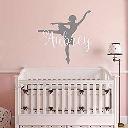 Amazon.com: BATTOO Ballerina Wall Decal - Personalized Name Wall ...