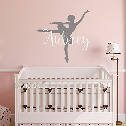 BATTOO Ballerina Wall Decal - Personalized Name Wall Decal - Nursery Custom Name Wall Decal - Ballet Teen Girls Room Name Decal - Ballet Vinyl Wall Art by BATTOO (Image #1)