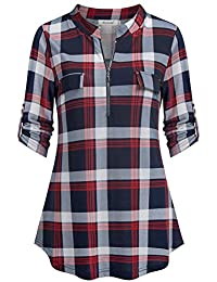 Women's 3/4 Sleeve Roll up Shirts Zip Floral Casual Tunic Blouse Tops
