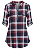 Ninedaily Women's Tops,Plaid Paisley Printed Short Sleeve Henleys Casual Flare Tunic Blouse Asymmetrical Extra Large Oversized Big Girls Stripe Back to School Gift NavyWhiteRed,Size XL(US16-18)