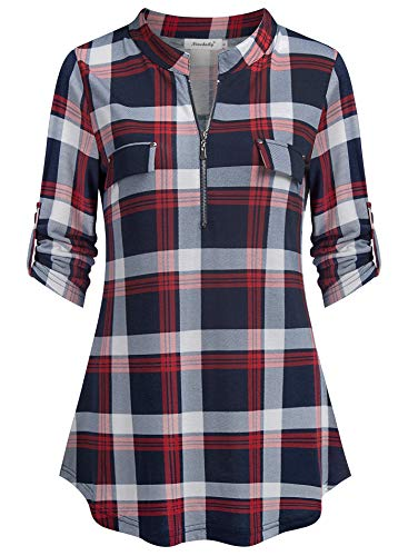 Ninedaily Plaid Business Casual Blouse, Flare Ruffled Hem Pleated Blouse for Jeans Midnight Pub Bar Cocktail Reception Party Dating Shirts Womens Blouse NavyWhiteRed Size M(US8-10)