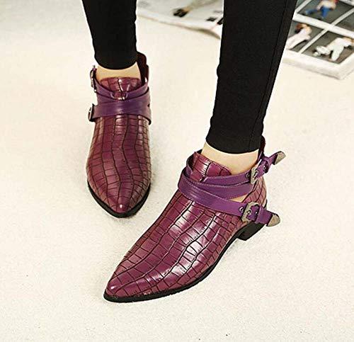 Fiesta Guapo Mujer Corte Ue Hebilla Zapatos Estilo 40 Botas Cinturón Británico Bomba Pies Botín Los Tamaño Martin Ol Vestir 34 Purple Tobillo Punta De nXq4YwT4Z