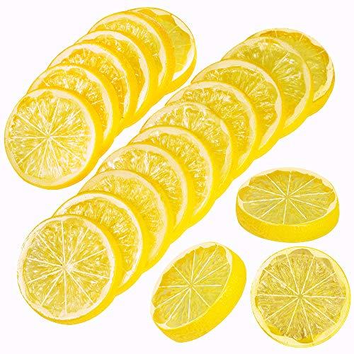 SUPLA 24 Pcs Artificial Lemon Slices Lime Slice Fake Fruits Slices Decorative Plastic Lemon Slices Lifelike Fruit Model 2