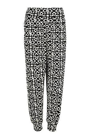 Womens Ladies Plus Size Printed Harem Pants Cuffed Bottom Ali Baba Trousers 8-26