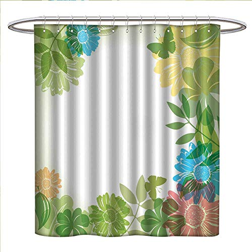BarronTextile Green Flower Shower Curtains 3D Digital Printing Floral Pattern Wildflowers Leaves and Butterflies Nature Inspired Illustration Custom Made Shower Curtain W48 x L72 Multicolor