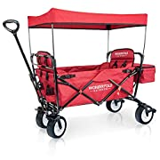 WonderFold Outdoor Premium Collapsible Folding Wagon With Canopy, Active Steering Handle, Stand, One Pedal Brakes, Wide EVA Tires & Two Wagon Seats With 5-Point Seat-Belt (Ruby Red)