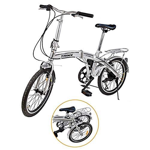 """🥇 Ridgeyard – Bicicleta de 20""""y 6velocidades color plata plegable regulable City Bike escuela deporte Shimano"""