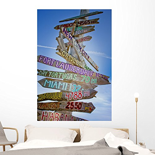Wallmonkeys FOT-23770586-60 WM270803 Key West Hollidays Tropic Sign Km Distances Peel and Stick Wall Decals (60 in H x 40 in W), Jumbo