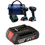 Bosch 18-Volt Cordless Drill Driver / Impact Combo Kit with 2 Batteries, 18V Charger and Blue Carrying Case with 2.0 AH battery