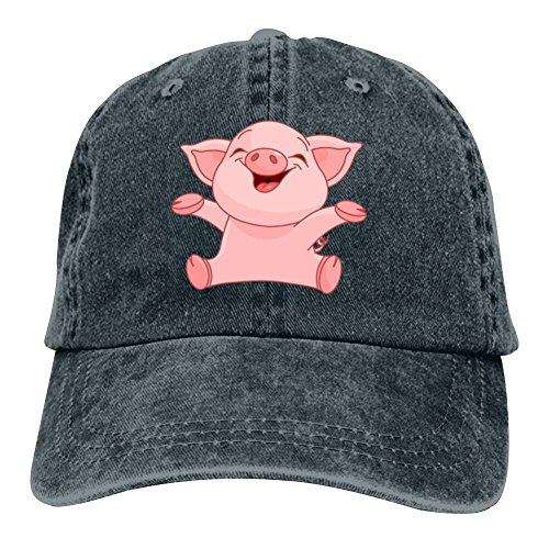 Ringkyo Happy Piggy Washed Dyed Cotton Adjustable Cowboy Baseball Hat Navy - Piggy Hugs