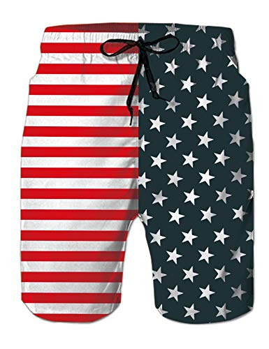 Belovecol Men's USA Flag Star Srtipe Swim Trunks July 4th Patriotic Beach Shorts Plus Size Casual Bathing Suits XXL