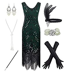 Black & Green 1920s Fringe Beaded Dress with Costume Set