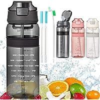 Waterfles met stro Drinkfles met tijdmarkering BPA Gratis sportfles, lekbewijs fietsfles voor kinderen Gym Camping Yoga…