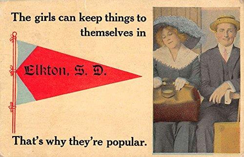 Elkton South Dakota Romance Couple Pennant Flag Antique Postcard K96479