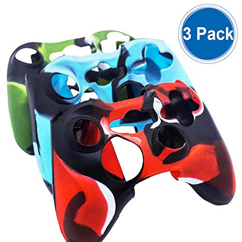BRHE Cool Silicone Protector Cover Case Anti-Slip Soft Comfort for Xbox 360 Controller Skin Camo (3 Colors Package) (Three Pack) (Xbox 360 Starwars Controller)