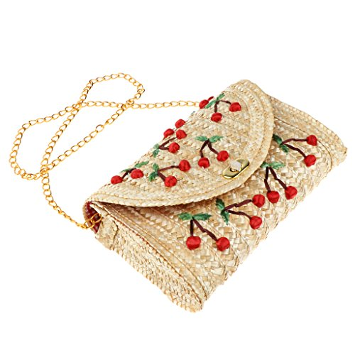 Handbags Bag Clutch Ladies Shoulder Straw Chain Bags Hand Summer Beach Women Cherry Woven Homyl PnwZ7x58q8