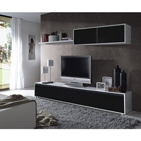 Due-home Mueble de Comedor Moderno, Color Blanco Brillo y Negro ...