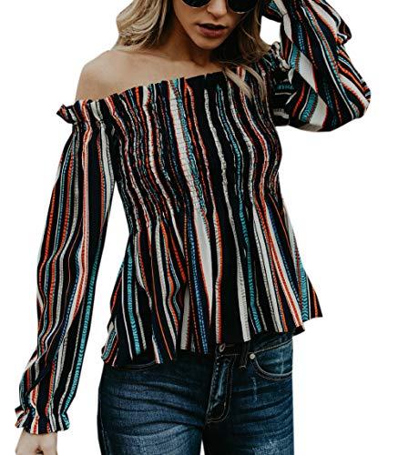 Longues Femmes Bateau OUFour Chemisier Patchwork Blouse Hauts Tees Shirts Bande Tops Automne Printemps Manches et Raye Col T Fashion nvxfv1