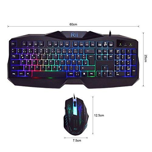 Rii® RK400 LED-Hintergrundbeleuchtung 7 Farben Helligkeit USB wasserdicht Gaming Tastatur und Maus Set, maus mit 1000-1600-2000 DPI und 4 Tasten, QWERTZ DE Layout für Pro Gamer schwarz(Gaming Tastatur und Maus Set)