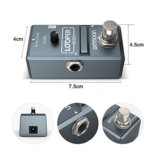ammoon AP-09 Nano Loop Electric Guitar Effect Pedal Looper True Bypass Unlimited Overdubs 10 Minutes Recording with USB Cable by ammoon (Image #2)
