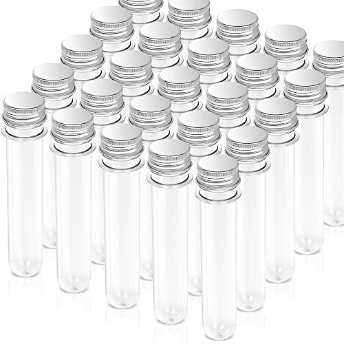 Teenitor Pack of 25 Science Party Test Tubes 40 ml 25x140mm,Clear Plastic Test Tubes Gumball Candy Tubes, Bath Salt Vials Christmas Birthday Gifts]()