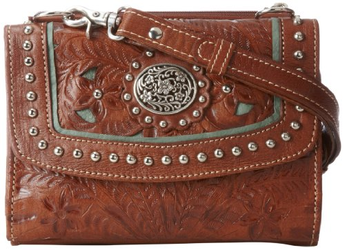 American West Western Handbag (American West Texas 2 Step Grab-and-Go Combination Bag Shoulder Bag Mocha/Turquoise One Size)