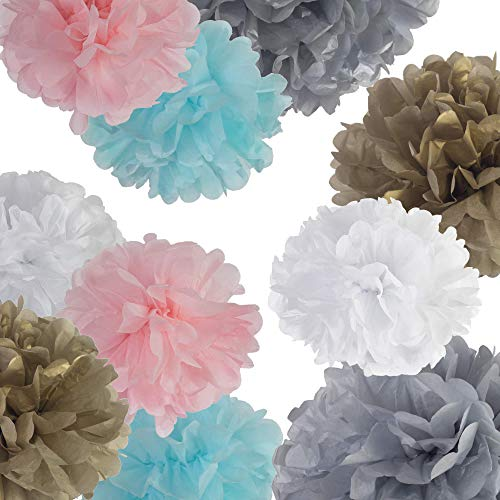 Blue N Blum 12 Pcs Tissue Paper Pom Poms Decorations - Kit Party Anniversary Wedding Events 1 Banner Happy Birthday - (12 10 8 6 Paper Flowers) Gold Silver White Light Blue Light Pink