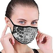 Jiinn Funny Snow Leopard Animals Unisex Black Face Mouth Mask Washable Reusable Cloth Masks for Men Women, Dus