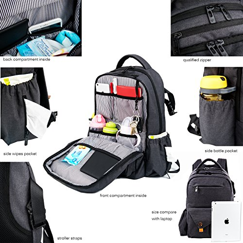 haptim baby diaper bag backpack large capacity with stroller straps baby gift center. Black Bedroom Furniture Sets. Home Design Ideas