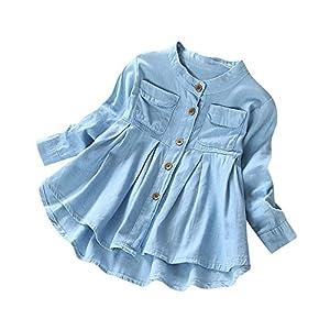 Fineser Little Girls Long Sleeve Denim Ruffle Botton up Shirts Kid's Spring Autumn Casual Tops 3-8T