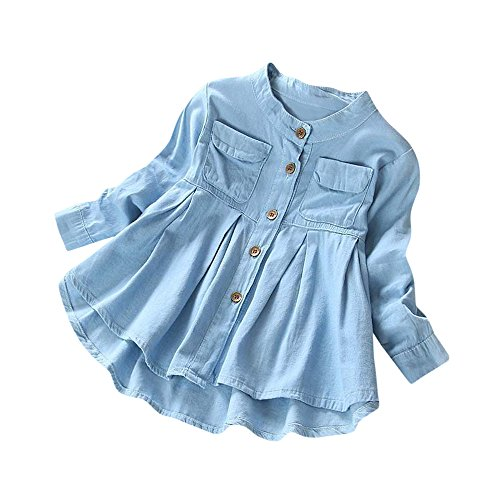 Ruffle Top Denim (Fineser Little Girls Long Sleeve Denim Ruffle Botton Up Shirts Kid's Spring Autumn Casual Tops 3-8T (Blue, 5T))