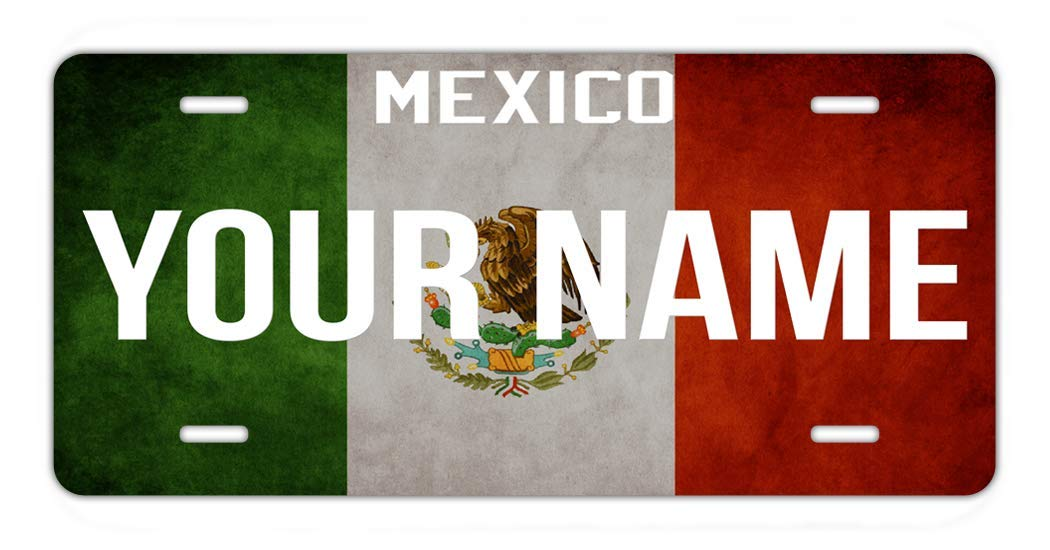 BRGiftShop Personalize Your Own License Mexico Flag Country Plate Car Vehicle 6x12 Tag